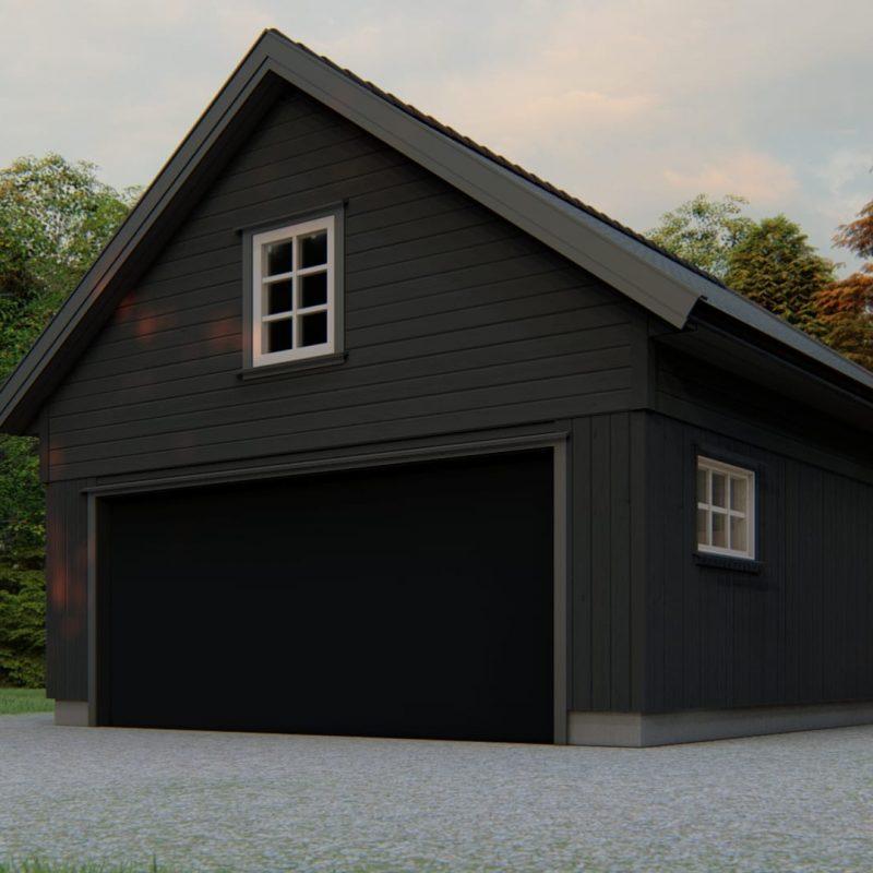 dobbel garasje med loft